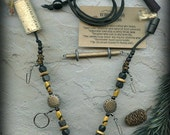 Fly Fishing Lanyard + Tippet Holder with Carved Horn, Bone, Wood and Antique Brass Finished Wire Beads on Black 2mm Paracord