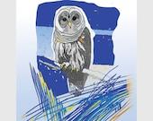 Print Owl Art Print Night Blue Owl Bird Wall Decor Owl Illustration / At FIRST SIGHT 8x10in