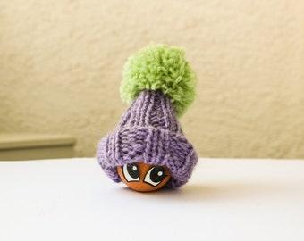 Lavender Egg Cozy - Violet and Green Egg Warmer Pom Pom Hat Gift for kids - Pastel Lavender Tea party Table Decor - Food Travel Bag