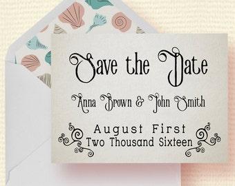 Nautical Beach Wedding Save The Date Card, Printable Wedding Save The Date, Template, DIY PDF