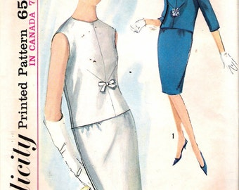 """Vintage 1963 Simplicity 5234 Two-Piece Dress Sewing Pattern Size 14 Bust 34"""""""