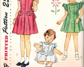 "Vintage 1948 Simplicity 2554 Children's and Girls' Dress Sewing Pattern Size 6 Breast 24"" UNCUT"