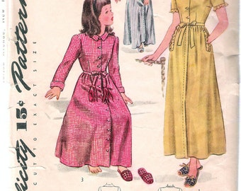 Vintage 1944 Simplicity 1128 Child's WWII Housecoat & Slippers Sewing Pattern Size 8 Breast 26""
