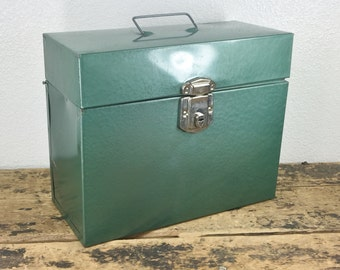 Industrial Green Metal File Box / Storage Container