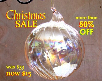 50% OFF - Hand Blown Iridescent Peach Ornament ~ Art Glass Orb ~ Glass Ball Sun-catcher ~ Spirit Ball