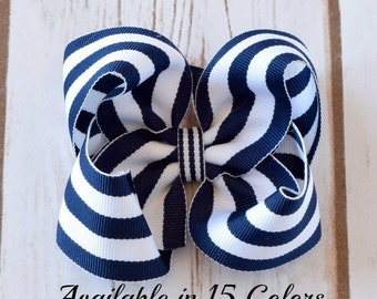 Navy Hair Bow, Hair Bows, Hair Bows for Girls, Toddler Hair Bows, Baby Hair Bows, Hairbows, Girls Hair Bows, Large Hair Bow, 4 inch Bow, 400