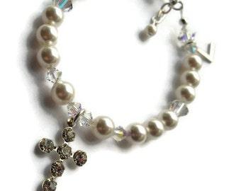 Swarovski Pearl Bracelet, Confirmation Bracelet, Swarovski Bracelet, Initial Bracelet