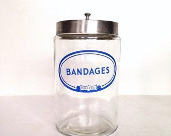 Vintage Bandages Jar, Vintage Grafco Medical Jar, Vintage Apothecary Jar, Glass Jar with Metal Lid, Bndages, Doctor's Office,