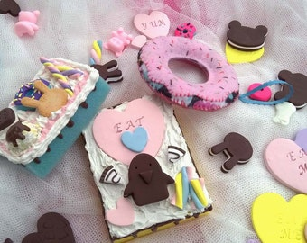 Hand Mirror Gift Set Cake Donut Harajuku Frosting Desk Mirror #1