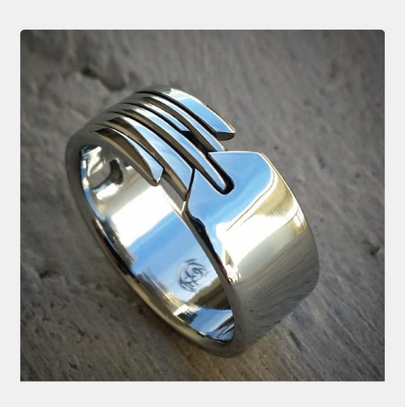 """16 """"QUILL"""" handmade stainless steel ring (not casted)"""