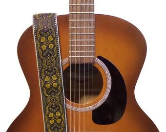 Hemp Guitar Strap - Yellow and Purple Paisleys Ribbon on Organic Hemp Webbing - Vintage Style Strap - Acoustic, Electric and Bass Guitars