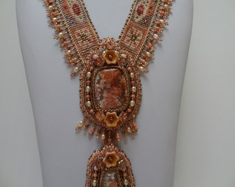 SALE, Peaches and Cream, Two Feather Ridge Plume Agates, Angel Skin Coral, Peach Fresh Water Pearls, Butterfly, Flowers Bead Weaving