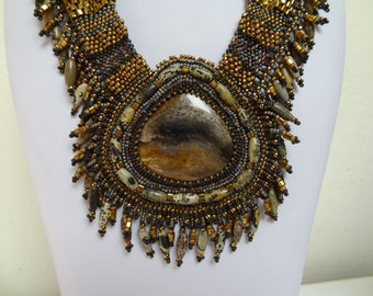 Primeval, Fossilized Wood, Painting Stone, Bronze, Grays, Taupe, Darkest Brown, Free Form Bead Woven, Embroidered Necklace