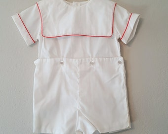 Vintage Boys 2 Piece Outfit in White with Red Piping and Sailor Collar- Sizes 2t, 3t, and 4t- New, never worn