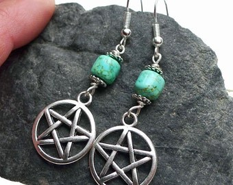 Turquoise Pentacle Earrings - Everyday Spiritual Jewelry, Turquoise Earrings with Pentacle, Gift for Her, Pagan Pentagram Jewelry SE-P0784