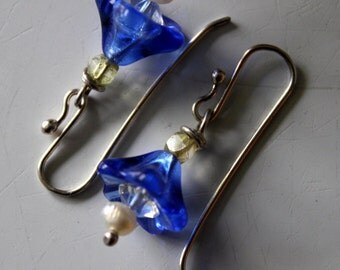SALE- sterling earrings with blue glass bell flower and Swarovski crystal - fresh water pearl - handmade sterling french ear wire