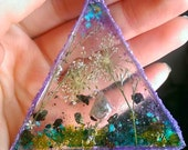 Resin Triangle Pendant Necklace // Statement Turquoise Amethyst Real Flowers Moss Large Pendant