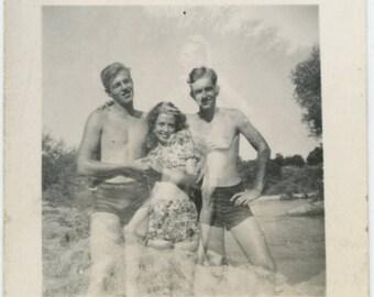 Double Exposure, 1940s:  Vintage Snapshot Mini-Photo [71480]