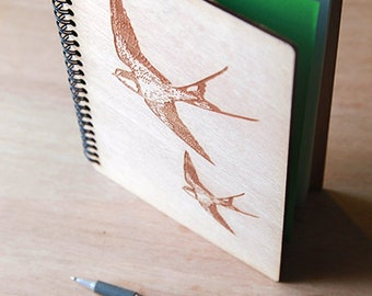 Notebook, sketchbook A5 drawing wood engraved upcycled Wood Journal