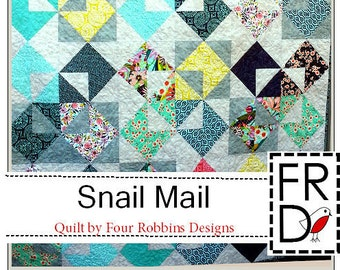 Snail Mail Quilt Pattern PDF by Four Robbins Designs - Immediate Download