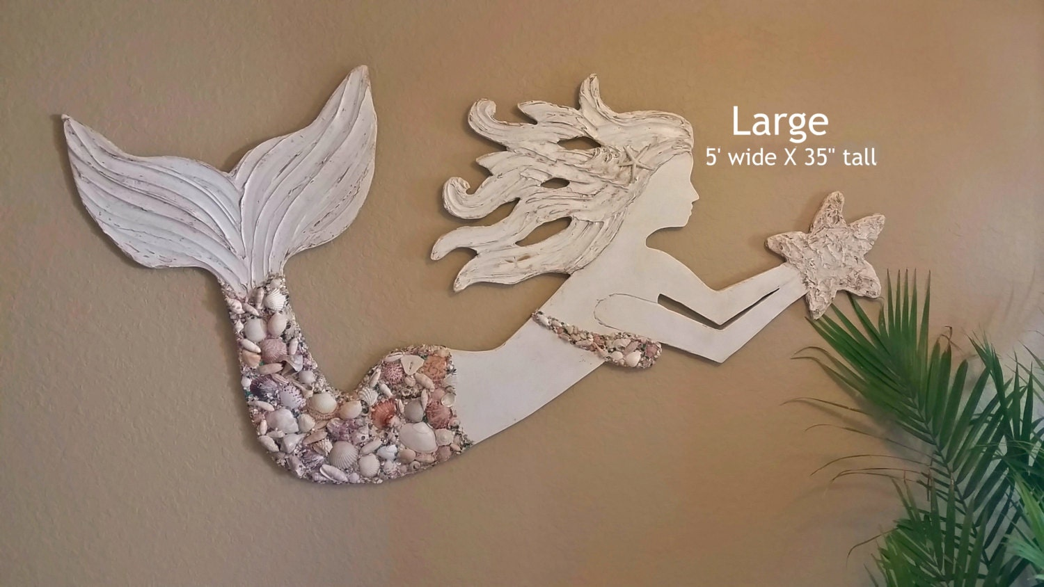 Mermaid Wall Art Large Size Handmade Wood By Lucydesignsonline