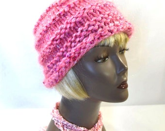 Pink Winter Hat, Beehive Hat, Hand Knit Woman's Hat, Bubblegum Pink Hat, Glittery Holiday Hat, Ready to Ship