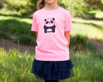 SALE - Toddler Cute Panda Bright Pink American Apparel T-shirt