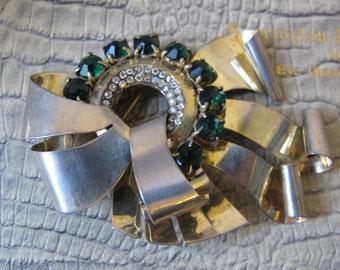 Large RETRO AGE Sterling Silver & Rhinestone Exceptional Brooch/ 1940's Emerald Green n Clear Diamante Rhinestone Statement Brooch/AW15 2016