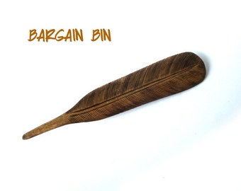 Vintage Burned Wood Feather Brooch Pin carved