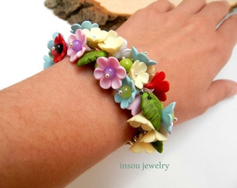 Pastel Jewelry Flower Bracelet Romantic Jewelry Flower Jewelry Colourful Bracelet Handmade Bracelet Fashion Jewelry Gift For Her Flowers