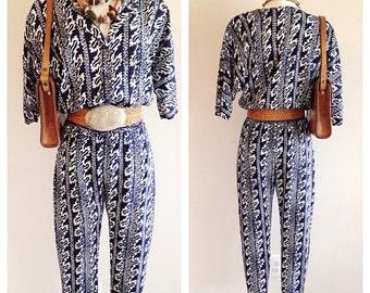 Vintage 1990s Boho Blue Jumpsuit
