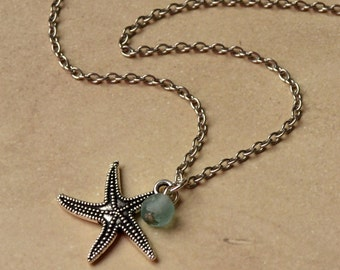 3D Starfish Silver Necklace Summer Sea Beach Pendant Star Fish Glass Paisley Beading FREE Shipping
