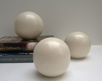 Decorative Spheres Set Of Three, White, Handcrafted