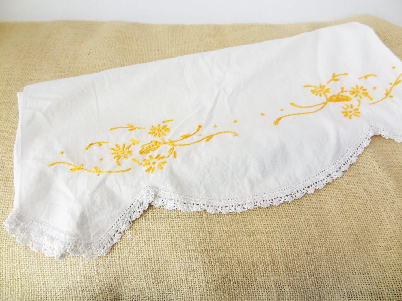 vintage pillowcase shabby chic boho bedding yellow embroidery