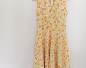 50s Dress Vintage Inspired Handmade Yellow Floral Dress with Jacket