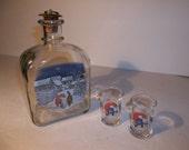 Vintage bar ware,  Holmegaard, vintage cordial set, cat and gnome,retro barware, shot  mid century modern, art deco, home decor, bar decor