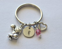 Cheerleading Initial Keychain - Cheerleading Keychain, Keychain Charm, Cheerleading Gifts, Affordable Cheerleading Gifts, Girls Gifts, Gifts
