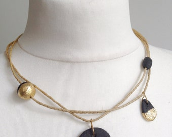 raffia necklace, sandstone and gold leaf