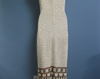 Vintage 1960's Knit Sequined Gown Gene Shelly Bombshell Glamour Dress