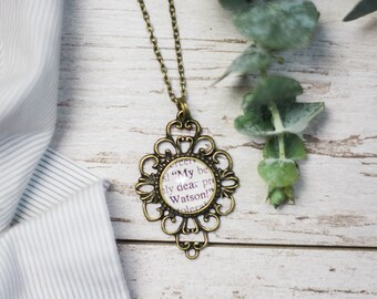 Sherlock Holmes, My dear Watson, Necklace, Vintage, Arthur Conan Doyle, Doctor Watson, Dr. Watson, Jewelry, Antique Silver, Antique Bronze