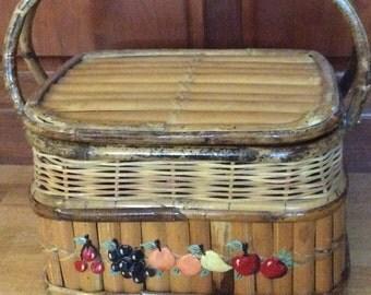 Vintage Bamboo Picnic Basket