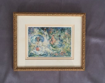 Vintage Framed Romantic Print of women parasol and flowers 9x11