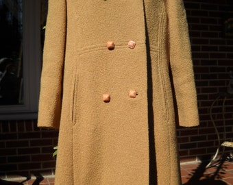 Vintage Butterscotch Swing Coat with Fur Collar Medium circa 1950s to 60s