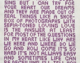 Jack Johnson's Better Together Song Lyrics Cross Stitch Pattern, Pattern Only