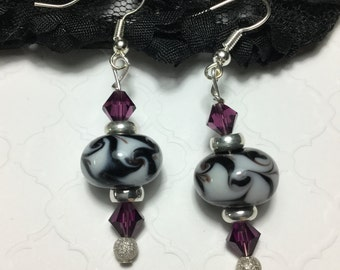Free Shipping - Connection - Black And White Lampwork Earrings/Swarovski Crystal Lampwork Earrings/Black And White Earrings