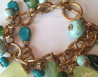 Vintage Charm Bracelet ~ Plastic Faceted Beads ~ Gold Caps ~ Turquoise ~ Sea Glass ~ Gold Chain