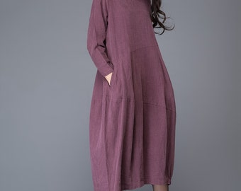 Linen dress /women's dress/ loose dress/ long dress  C1010