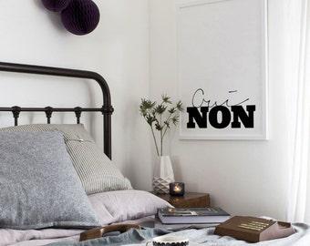 Oui Non Art Print - Home Decor - Yes No Typography Art - Minimal Art - Scandi Style - Black and White Print - French Art Print