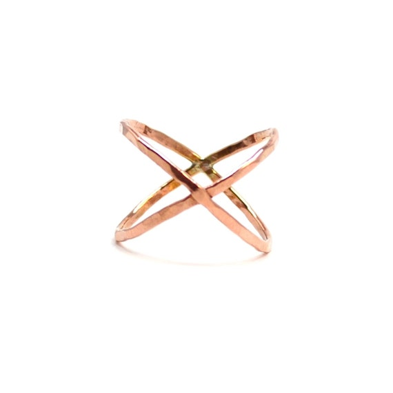 Rose Gold X Ring. Hammered Criss Cross Ring. Pink Gold Crossover Statement Ring.