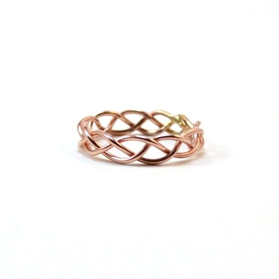Rose Gold Braided Ring. Alternative Wedding Band. Unique Strength Unity Ring. Modern Minimal Statement Ring.